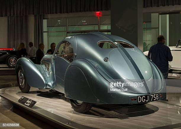 Super rare and valuable 1936 Bugatti Atlantic stands out at the Petersen Automotive Museum in Los AngelesCalifornia