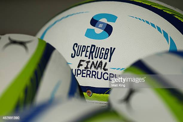 Super Rugby Grand Final ball is seen during the Crusaders Super Rugby Grand Final Captain's Run at ANZ Stadium on August 1 2014 in Sydney Australia