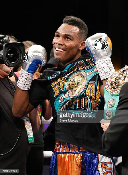Super welterweight boxer Jermell Charlo celebrates after beating John Jackson to win the vacant WBC title at The Chelsea at The Cosmopolitan of Las...