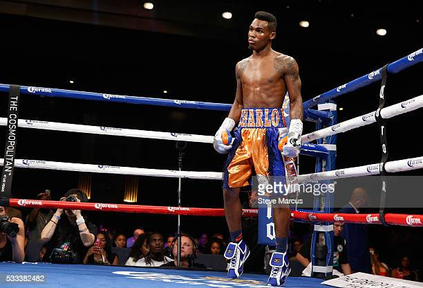 Super welterweight boxer Jermell Charlo is shown before the start of his fight against John Jackson for the vacant WBC title at The Chelsea at The...