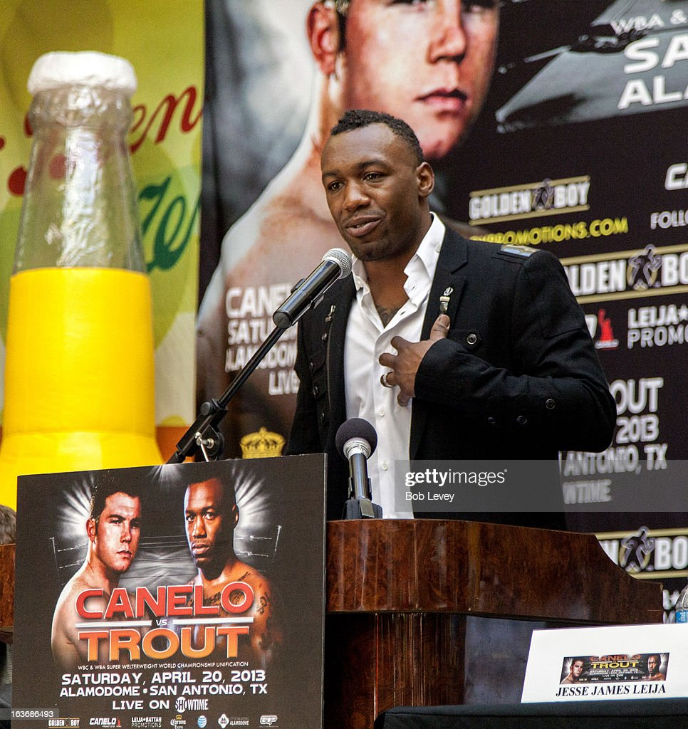 Super Welterweight champion Austin 'No Doubt' Trout speaks during a press conference promoting his upcoming fight against Canelo Alvarez to unify the 154-pound division on March 14, 2013 in Houston, Texas.