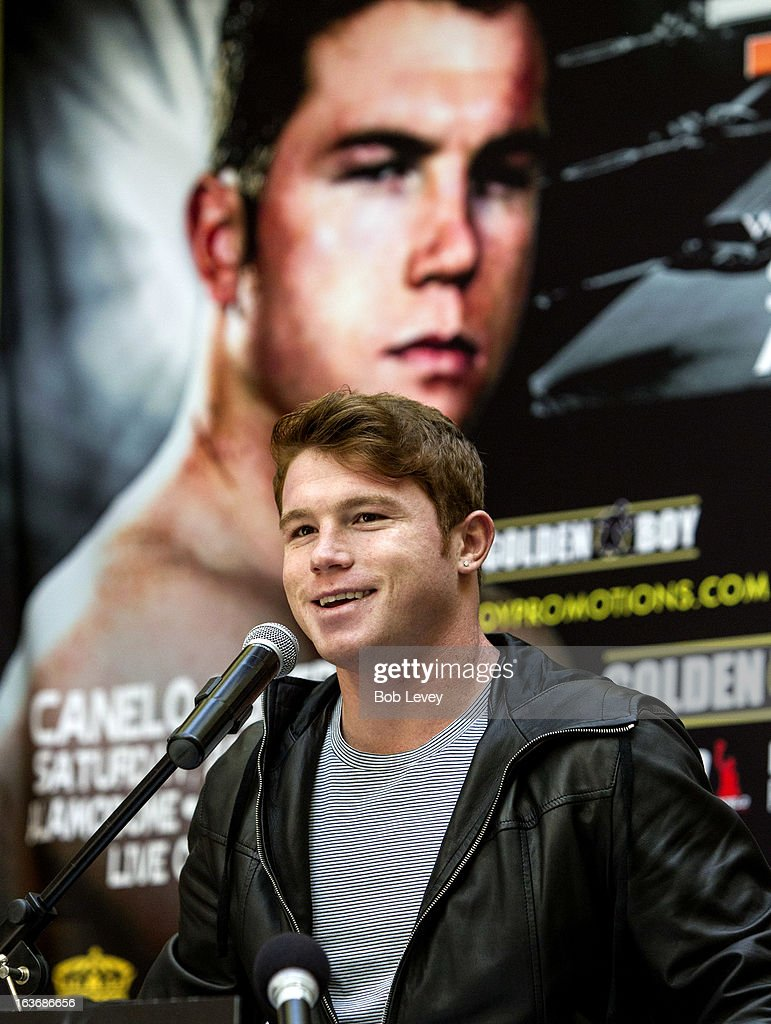Super Welterweight champion Canelo Alvarez speaks during a press conference promoting his upcoming fight against Austin 'No Doubt' Trout to unify the 154-pound division on March 14, 2013 in Houston, Texas.