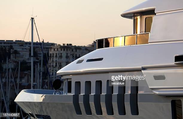 Super yacht bow and bridge detail