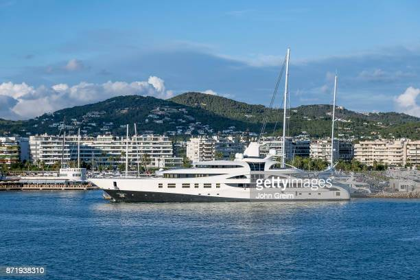 Super yacht docked in the harbor in Ibiza