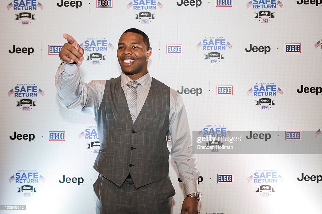 Superbowl champion Baltimore Raven Ray Rice attends the launch event for Jeep Operation Safe Return at the USO Warrior & Family Center on February 6, 2013 in Fort Belvoir, Virginia.