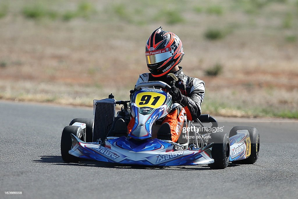 V8 Supercar driver Nick Percat, who started through Go-Karting in South Australia, races around the track at the Monarto Karting Complex on February 26, 2013 in Adelaide, Australia.