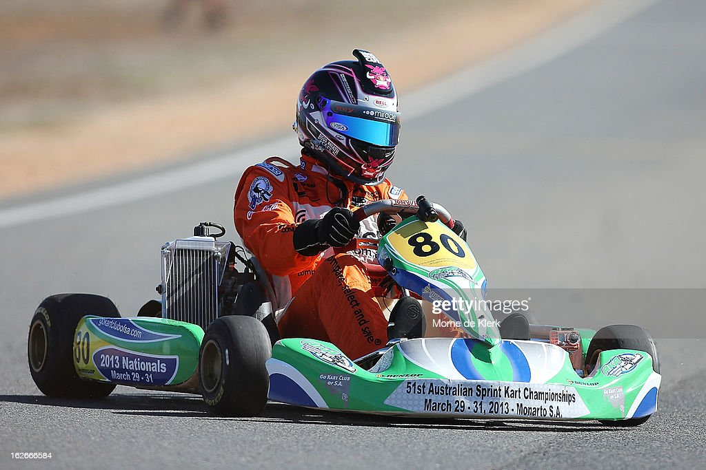 V8 Supercar driver Scott Pye, who started through Go-Karting in South Australia, races around the track at the Monarto Karting Complex on February 26, 2013 in Adelaide, Australia.