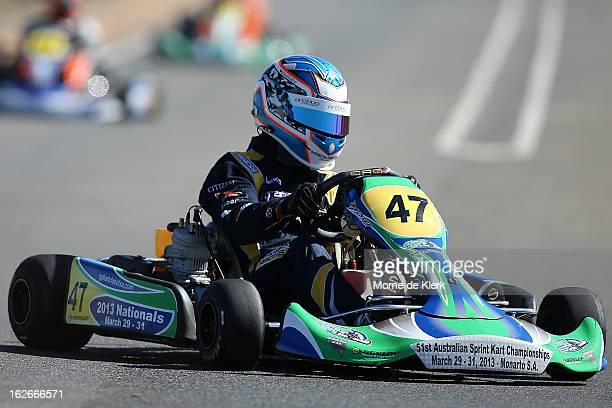 Supercar driver Tim Slade who started through GoKarting in South Australia races around the track at the Monarto Karting Complex on February 26 2013...