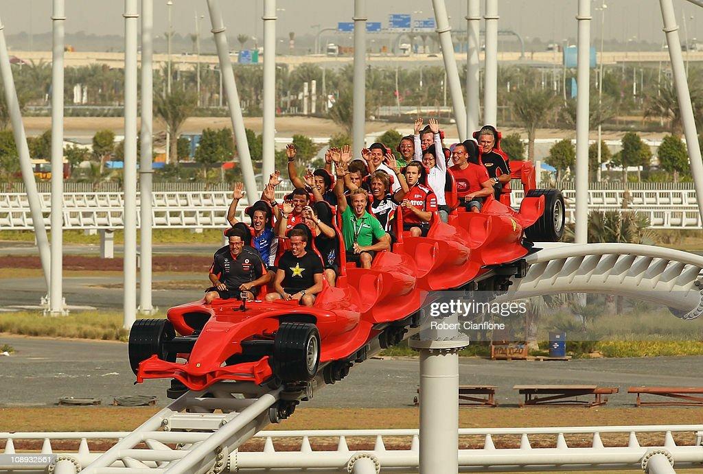 Supercar drivers take a ride on a rollercoaster at Ferrari World on February 9 2011 in Abu Dhabi United Arab Emirates