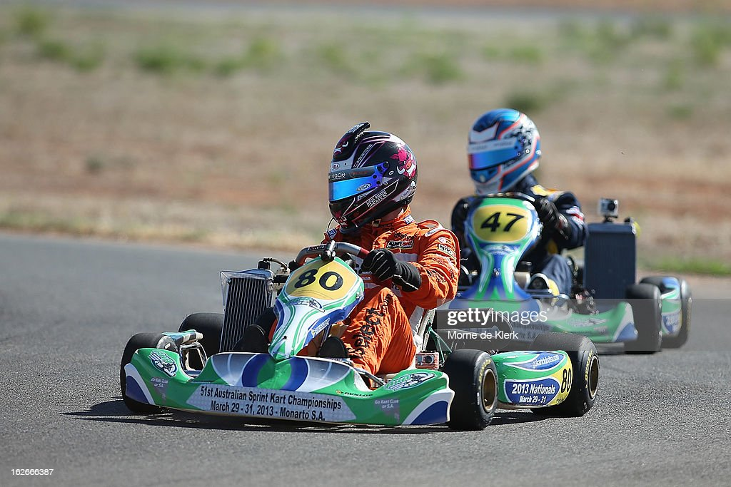 V8 Supercar drivers Tim Slade (no 47), Nick Percat (no 91) and Scott Pye (no 80), who all started through Go-Karting in South Australia, race around the track at the Monarto Karting Complex on February 26, 2013 in Adelaide, Australia.