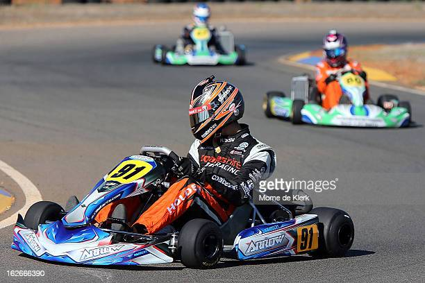 Supercar drivers Tim Slade Nick Percat and Scott Pye who all started through GoKarting in South Australia race around the track at the Monarto...