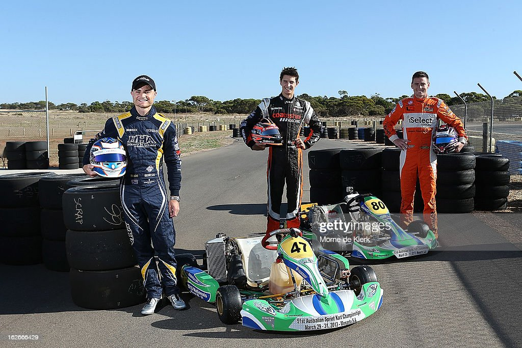 V8 Supercar drivers Tim Slade, Nick Percat and Scott Pye, who all started through Go-Karting in South Australia, pose for a photograph at the Monarto Karting Complex on February 26, 2013 in Adelaide, Australia.
