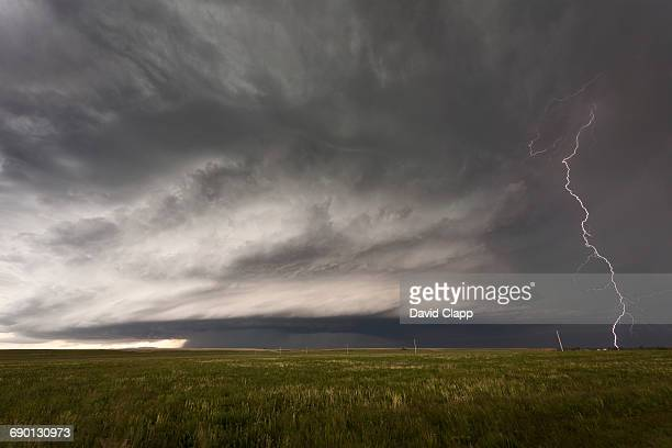 Supercell and lightning, Montana, USA