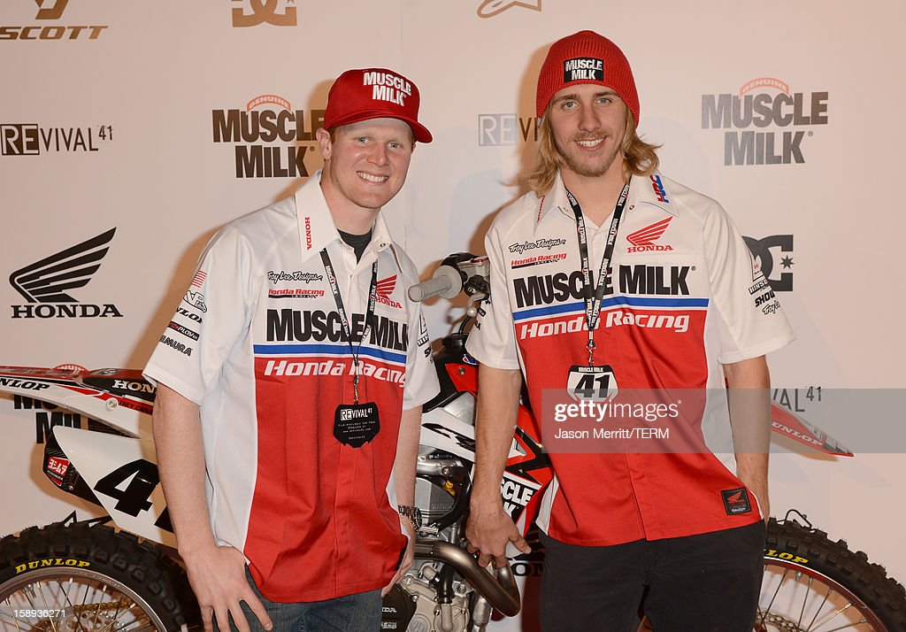 Supercross champion Trey Canard and rider Justin Barcia attend the Trey Canard 'REvival 41' premiere held at UltraLuxe Cinemas at Anaheim GardenWalk on January 3, 2013 in Anaheim, California.