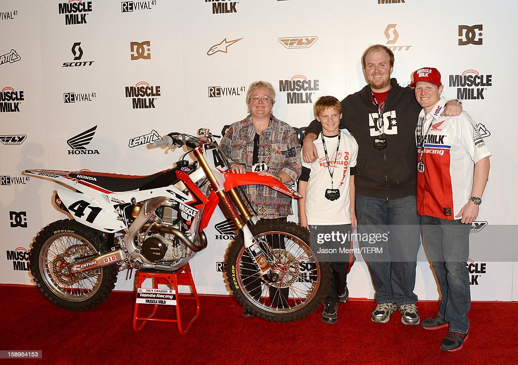 Supercross rider Trey Canard and his family attend the Trey Canard 'REvival 41' premiere held at UltraLuxe Cinemas at Anaheim GardenWalk on January 3, 2013 in Anaheim, California.
