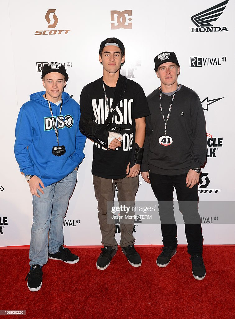 Supercross riders Zach Bell, Justin Bogle, and Wil Hahn attend the Trey Canard 'REvival 41' premiere held at UltraLuxe Cinemas at Anaheim GardenWalk on January 3, 2013 in Anaheim, California.