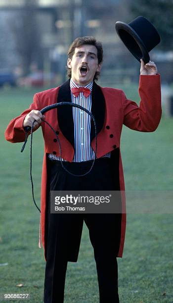 Superfeatherweight boxer Barry McGuigan dressed as a circus ringmaster at a press conference in London May 1989