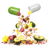 Superfood can be Medicine, composition with a collection of superfoods falling out of pill capsules