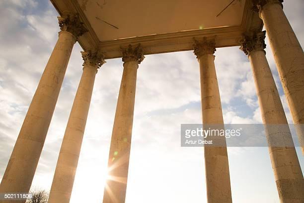 Superga basilica on the Turin city with columns and nice sunset light.