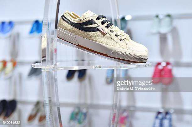 Superga creations are displayed during 90 Pitti Immagine Uomo held at Fortezza Da Basso on June 13 2016 in Florence Italy