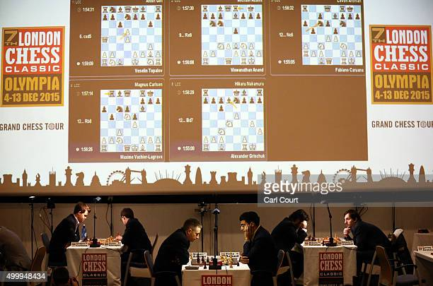 Supergrandmasters make their moves in opening games at the London Chess Classic tournament on December 4 2015 in London England As well as a British...