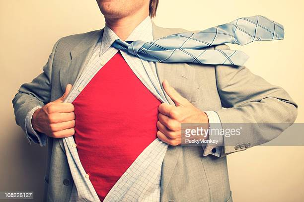 Superhero Businessman Office Worker Revealing Red Shirt Under Suit