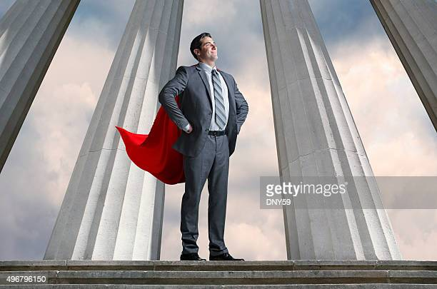 Superhero Businessman With Tall Pillars In The Background