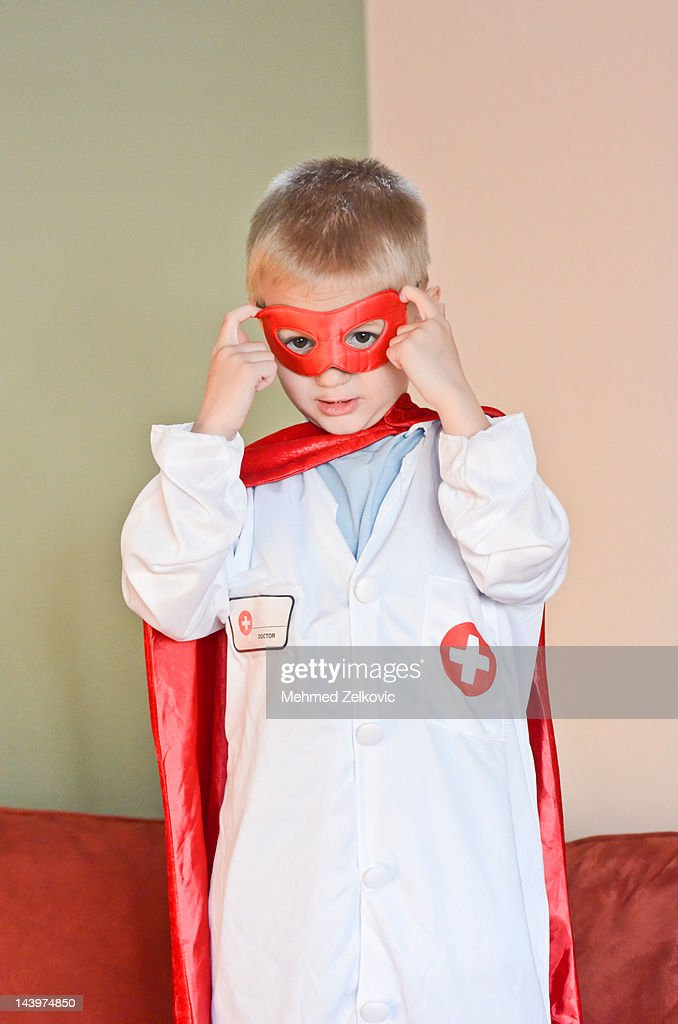 Superhero doctor kid : Stock Photo