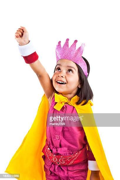 superhero Mädchen in den Startlöchern