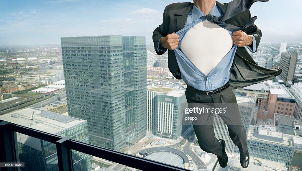 superhero in mid air : Stock Photo