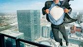 superhero in mid air