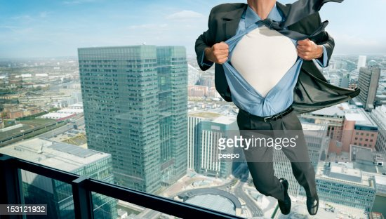 Superhero Pulling Open Shirt in Mid Air
