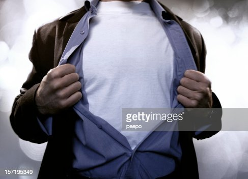 Superhero Pulling Open Shirt