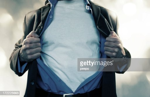 Superhero Pulling Shirt Open