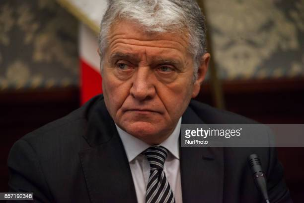 Superintended of Napes Antonio De Lesu during Police press conference to the prefect for bilance of the blitz to day in Scampia Napoli Italy on...