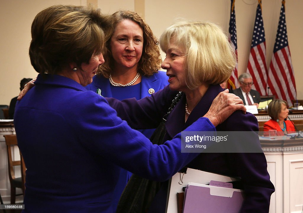 Superintendent of schools of Newtown, Connecticut, Janet Robinson (R) bids farewell to House Minority Leader Rep. Nancy Pelosi (D-CA) (L) as Rep. Elizabeth Esty (D-CT) looks on after Robinson testified during a hearing before the House Democratic Steering and Policy Committee January 16, 2013 on Capitol Hill in Washington, DC. The committee held a hearing to focus on gun violence prevention.