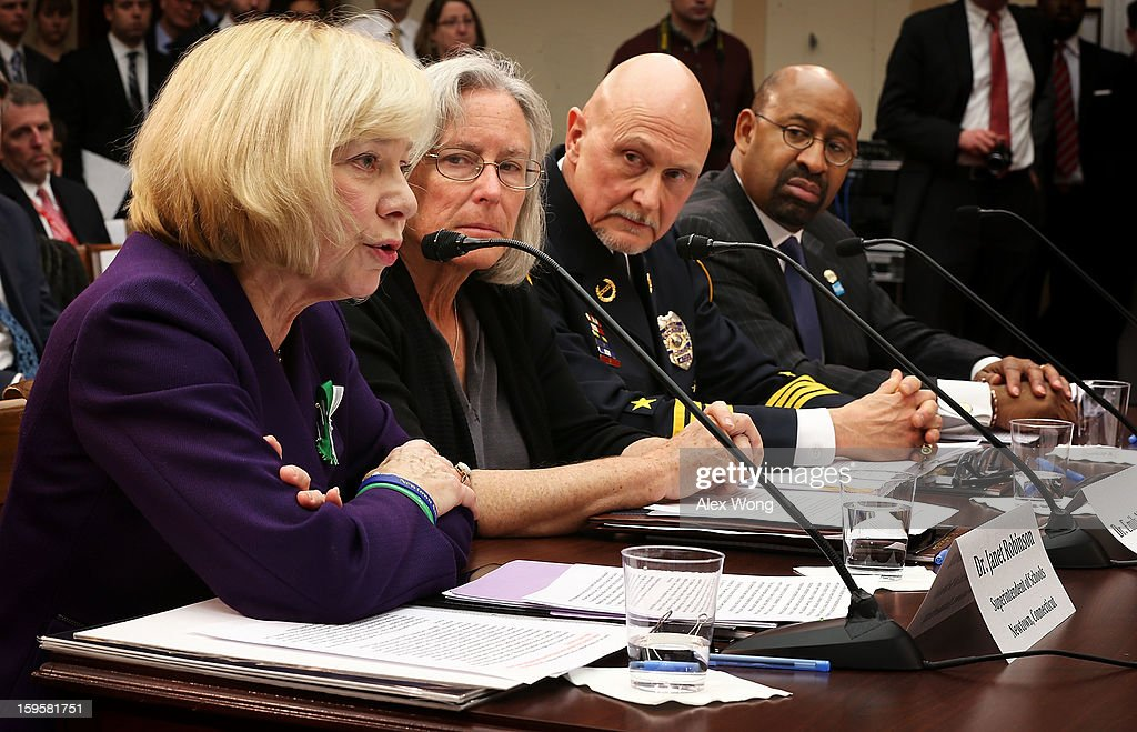 Superintendent of schools of Newtown, Connecticut, Janet Robinson, Emily Nottingham, mother of Gabe Zimmerman, a staff member to former Rep. Gabrielle Giffords' who was killed during the Tucson, Arizona shootings, chief of police for the City of Chaska, Minnesota, Scott Knight, and Philadelphia Mayor Michael Nutter testify during a hearing before the House Democratic Steering and Policy Committee January 16, 2013 on Capitol Hill in Washington, DC. The committee held a hearing to focus on 'Gun Violence Prevention: A Call to Action.'