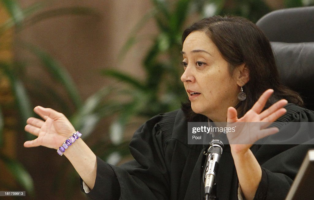 Superior Court Judge Yvette M. Palazuelos is shown in court as Michael Jackson family attorney Brian delivers his closing argument to jurors in a packed courtroom September 24, 2013 in downtown Los Angeles, California. The Jackson family is suing concert promoter AEG Live LLC for damages following the pop star's death. AEG lawyers are scheduled to give their closing remarks tomorrow.