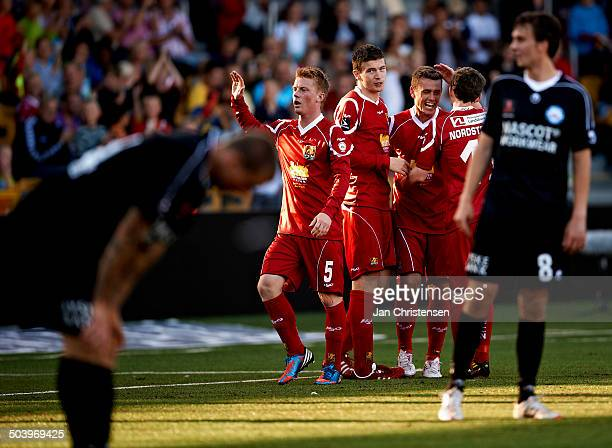 Superliga The players from FC Nordsjælland celebrating the 61 goal from Kasper Lorentzen FC Nordsjælland © Jan Christensen/Frontzonesport