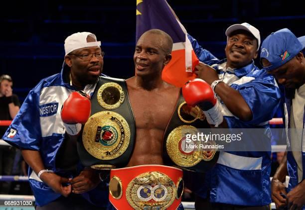 SuperLightweight World Champion Julius Indongo celebrates after beating WBA SuperLightweight World Champion Ricky Burn during the World...