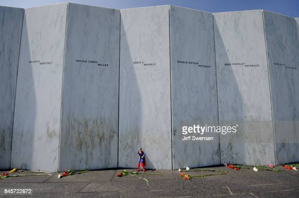Superman action figure left under the name of passenger Lewis J Nacke II at the Flight 93 National Memorial on the 16th Anniversary ceremony of the...