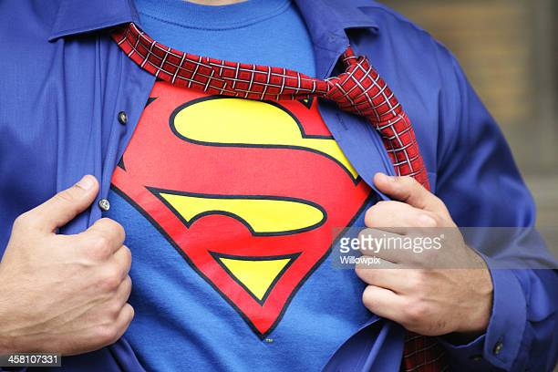 Superman Costume on Strong Young Man