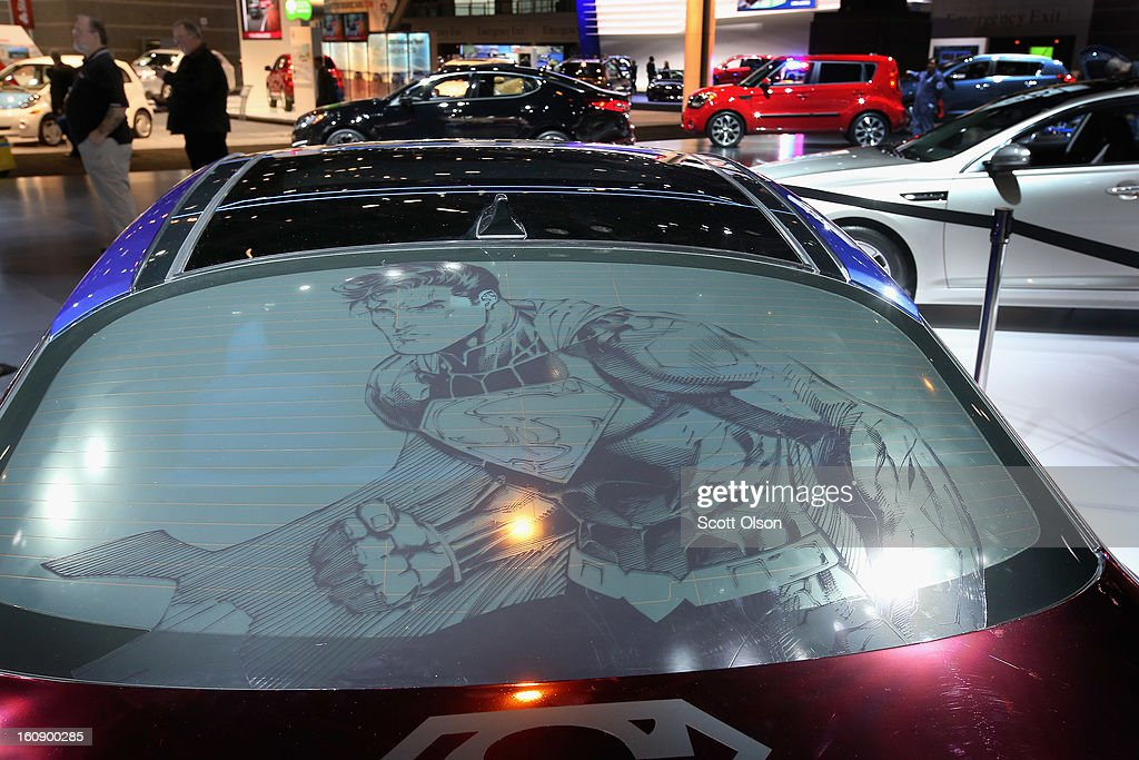 Superman in shown in the rear window of the Kia DC Comics Superman Edition Optima Hybrid at the Chicago Auto Show on February 7, 2013 in Chicago, Illinois. The Chicago Auto Show, one of the oldest and largest in the country, will be open to the public February 9-18.