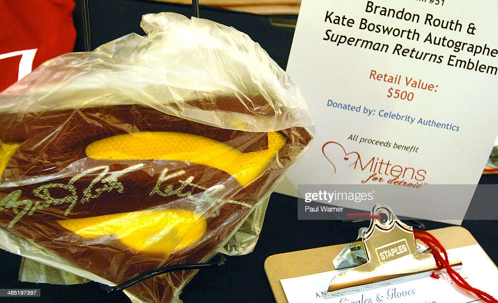 A Superman Returns emblem signed by Kate Bosworth and Brandon Routh is part of a silent auction at Mittens for Detroit's 4th annual night of Giggles and Gloves at MGM Grand Hotel on January 25, 2014 in Detroit, Michigan.
