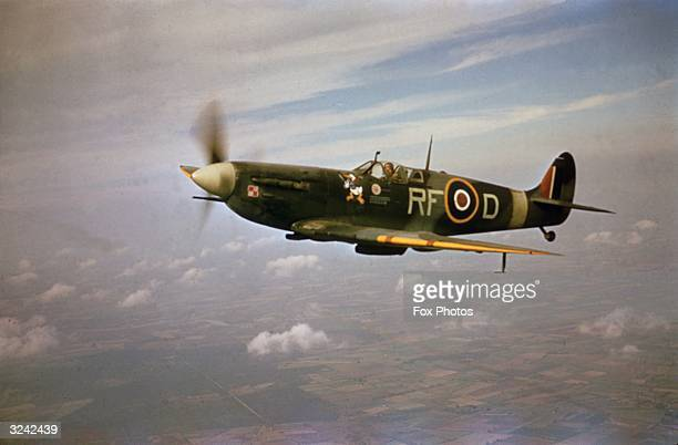 A Supermarine Spitfire MkVb RFD flown by pilot Jan Zumbach of the 303 Kosciuszko Polish Fighter Squadron of the Royal Air Force World War II circa...