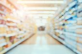 Supermarket aisle blur abstract background