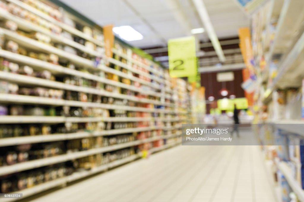 Supermarket aisle, defocused