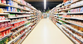 supermarket aisle interior blurred background