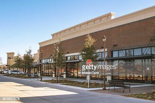 Supermarket in suburban area : Stock Photo
