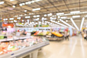 supermarket interior with grocery product blurred defocused background with bokeh light